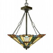 Inglenook 3 Light Pendant in Valiant Bronze and Tiffany Glass - QUOIZEL QZ/INGLENOOK/P/B
